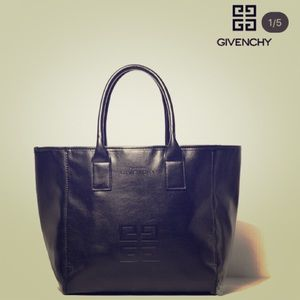 Auth GIVENCHY PARFUMS Black Leather Tote Handbag
